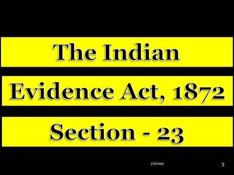 EVIDENCE ACT - SECTION 23