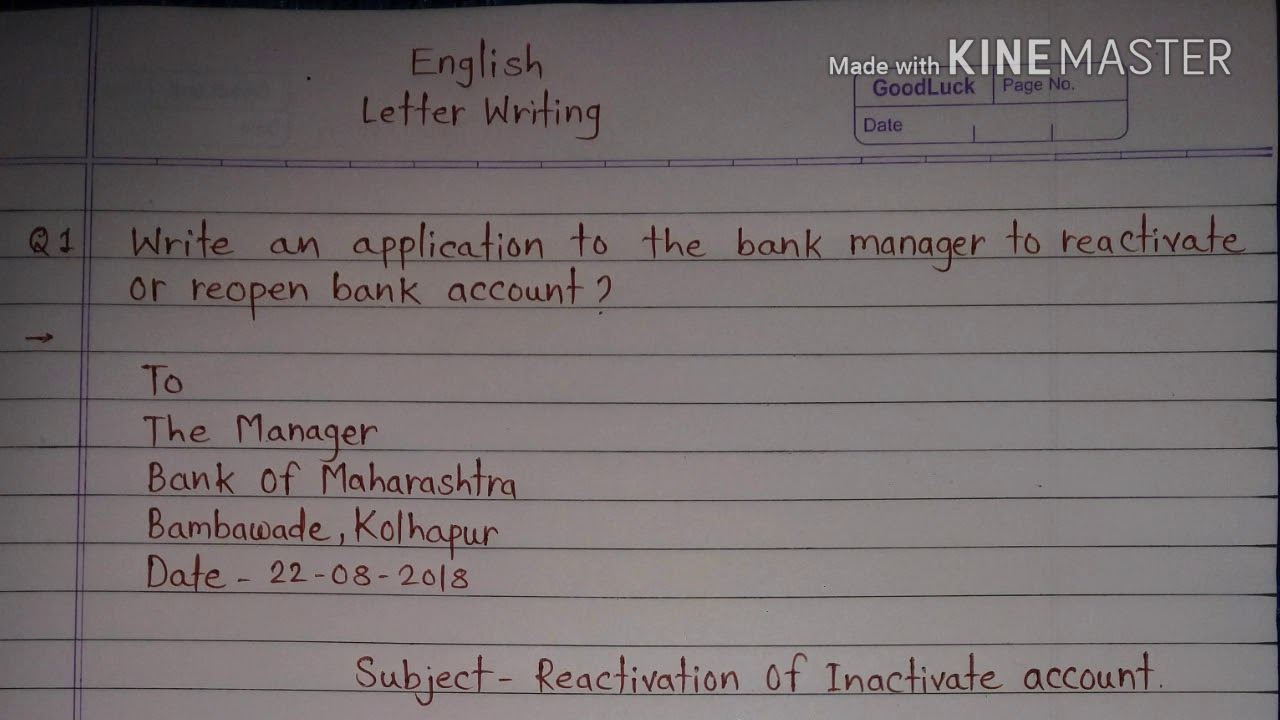 How To Write Application To The Bank Manager For Reactivate Or Reopen Bank Account Letter Writing Youtube