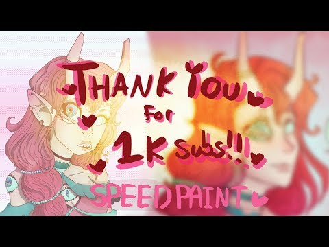 SPEEDPAINT - THANK YOU FOR 1k SUBS!!! (First Video Re-draw)