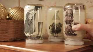 Porta retrato e conservador de fotos com vidro de maionese
