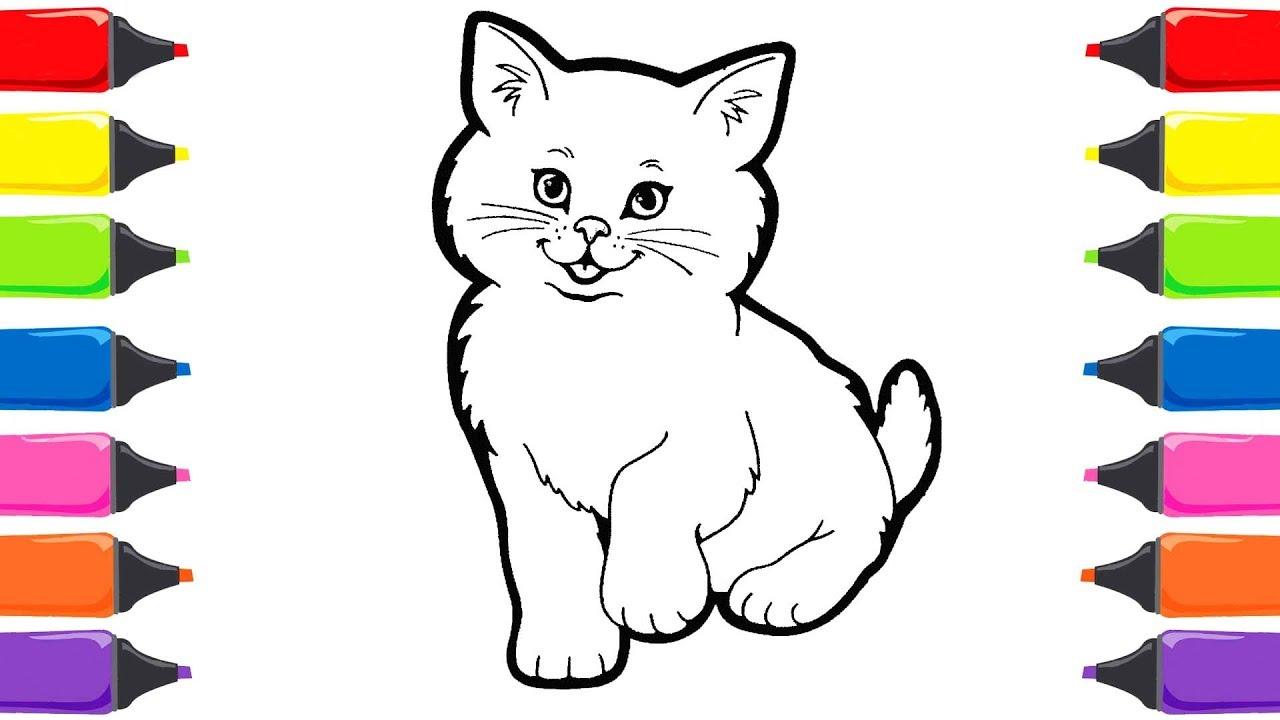 Renkleri öğreniyorum Kedi Boyama Nasıl çizilir Nasıl Boyanır Boyama