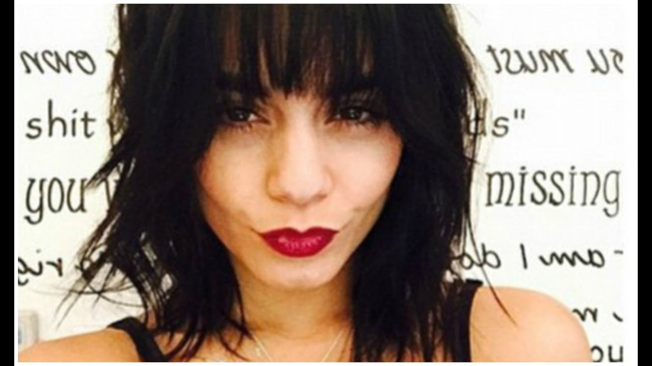 Vanessa Hudgens New Shaggy Hairstyle Black Hair Color And Blunt