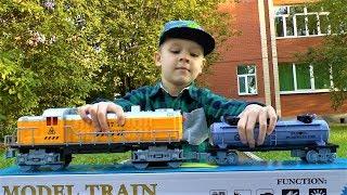 Большой ПОЕЗД и большая ЖЕЛЕЗНАЯ ДОРОГА Игрушка для мальчиков Видео про поезда для детей