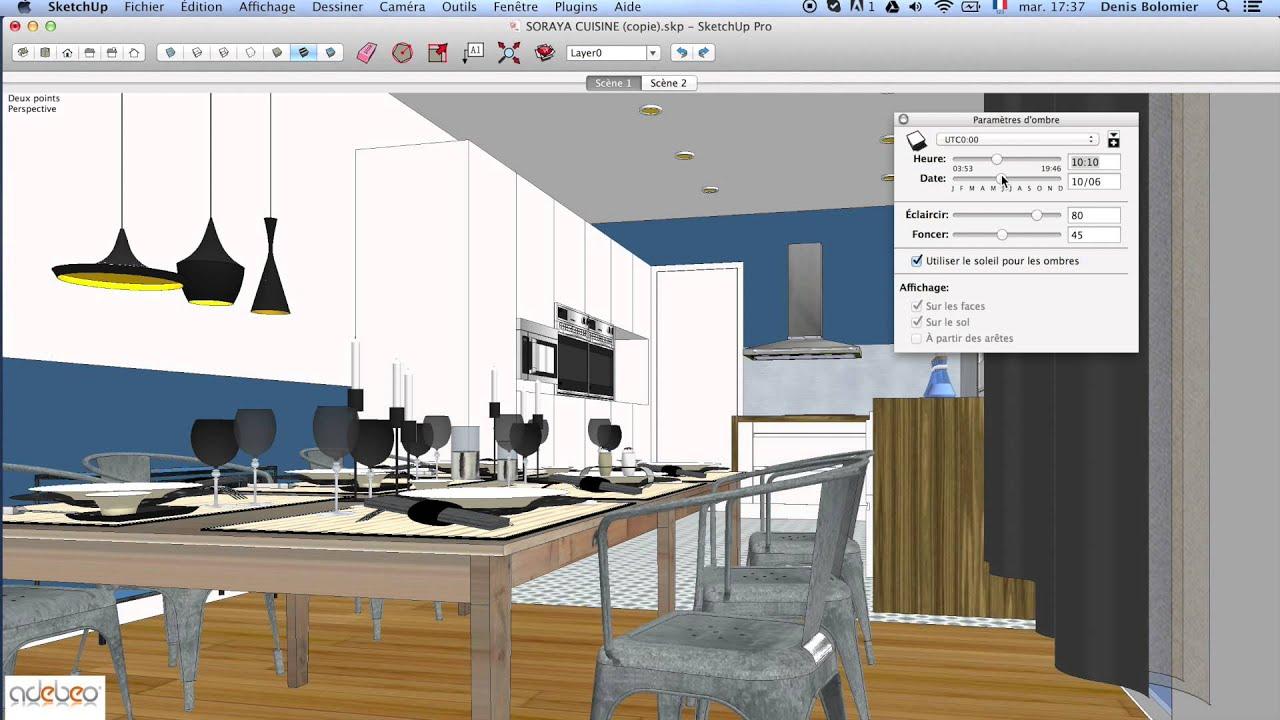 tuto sketchup r gler l 39 clairage youtube. Black Bedroom Furniture Sets. Home Design Ideas