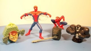 2009 THE SPECTACULAR SPIDER-MAN ANIMATED SERIES SET OF 4 BURGER KING KID'S MEAL TOY'S VIDEO REVIEW