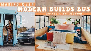 DIY Bus Tiny Home Conversion Bedroom Makeover with Volkswagen