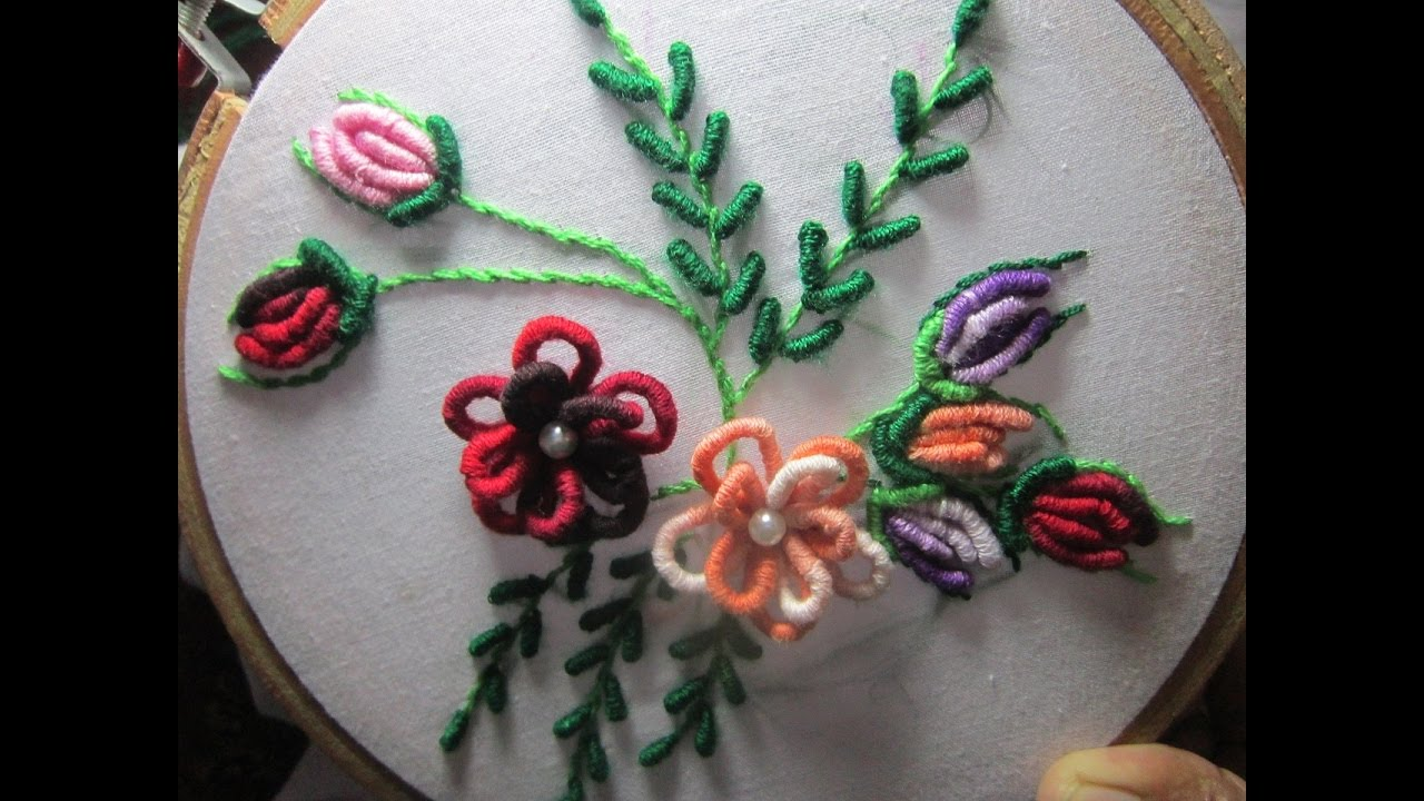 Hand Embroidery Designs  Cushion Cover Design  Stitch And Flower89