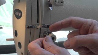 How to thread an industrial sewing machine, (top thread)