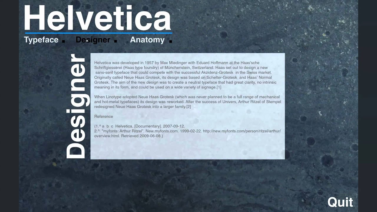 Helvetica Type Anatomy Site