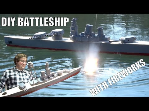 GIANT DIY RC Battleships with fireworks