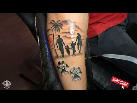 Family Tattoo with Dog paws – Time Lapse