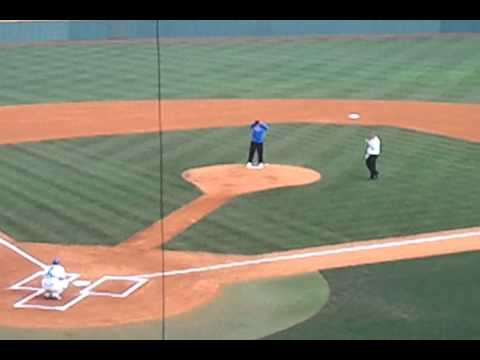 Enes Kanter throws first pitch at Cliff Hagan vs. Auburn