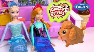 Chubby Puppies Frozen Queen Elsa Princess Anna's New Dog Littlest Pet Shop Blind Bag Video
