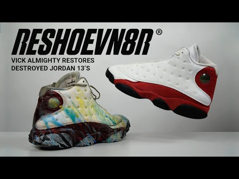 Vick Almighty #Restores Wax Covered Air Jordan 13 Cherrys with #RESHOEVN8R
