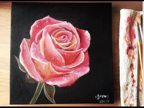 acrylic painting pink rose