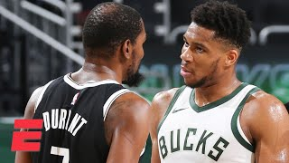 Reacting to Giannis' comments following the Bucks' second straight win against KD and the Nets | KJZ