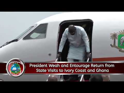 President Weah and Entourage Return from State Visits to Ivory Coast and Ghana
