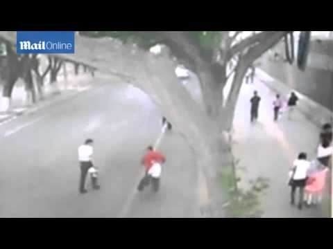 Moment 66 foot long wall blown down in China