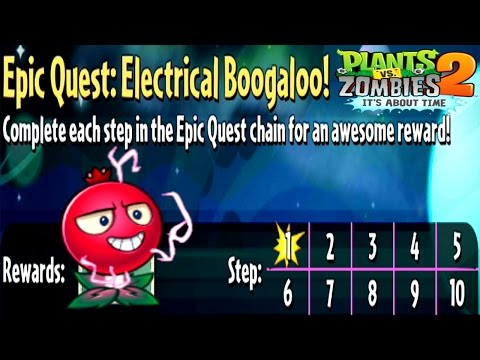 Plants Vs Zombies 2-Epic Quest Electrical Boogaloo! All Steps {1-10} Walkthrough