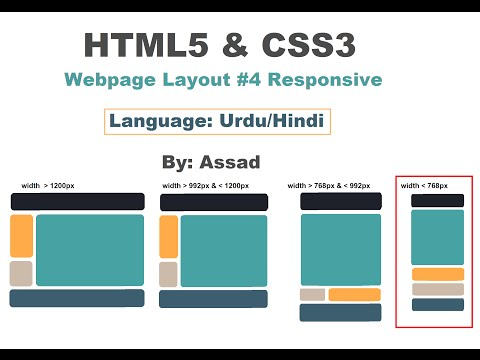 HTML5 and CSS Responsive Webpage Layout #4 Urdu/Hindi