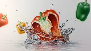 Splash di Peperone che casca nell'acqua - Disegno a mano speed drawing | Leonello Calvetti