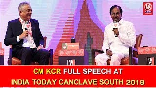 CM KCR Full Speech At India Today Canclave South 2018 | Hyderabad | V6 News