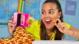 Learn How to Sneak Food into Class! Edible DIY Gummy School Supplies! Prank Your Teacher!