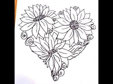 Heart shaped coloring page flowers in a heart easy drawing for