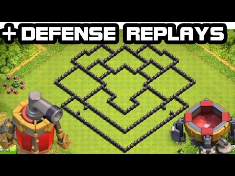 Clash of Clans - Town hall 8 Defense (Th8) Hybrid Base + DEFENSE REPLAY 2015