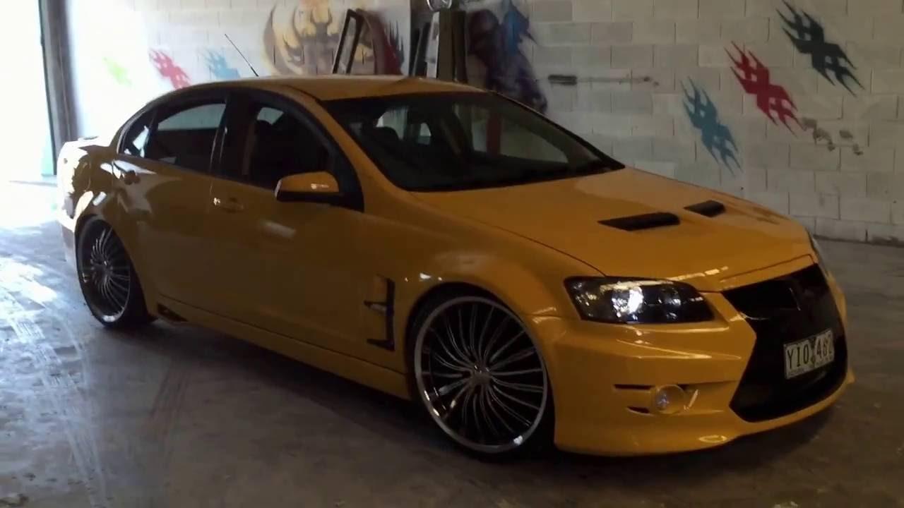 Custom Car Rims >> HOLDEN COMMODORE OMEGA WITH VE E3 GTS FULL BODYKITS CUSTOM WHEELS YELLOW AND BLACK PAINT JOB ...