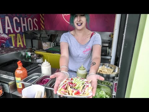Vegan Nachos and Tacos. Colourful Street Food of London, Camden Town