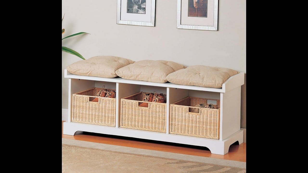 Bedroom storage bench youtube Bed bench storage