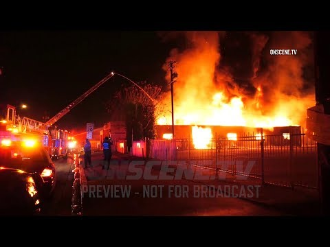 Raging Second Alarm Fire Engulfs Commercial Building In South El Monte
