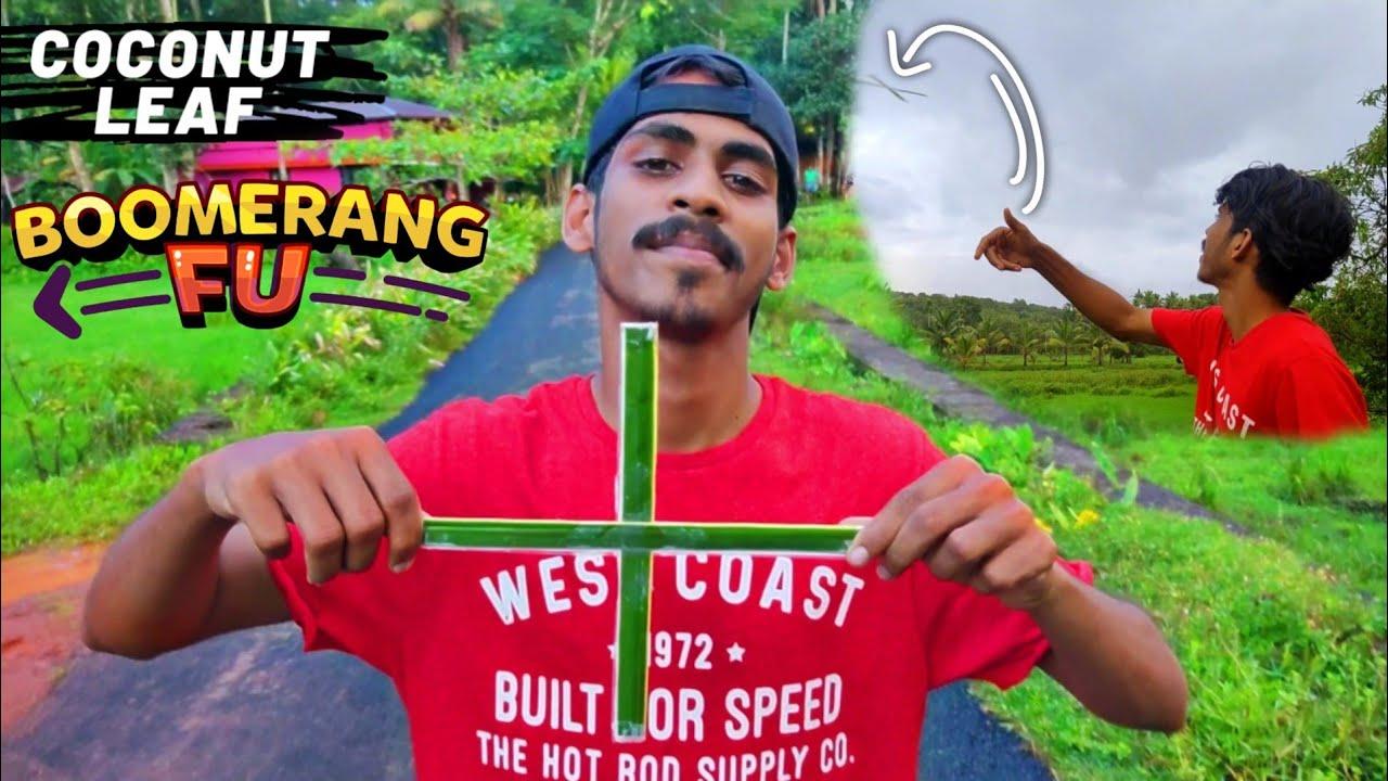 HOW TO MAKE BOOMERANG USING COCONUT LEAF  തെങ്ങിന്റെ ഓലകൊണ്ട് BOOMERANG   Arjun talks