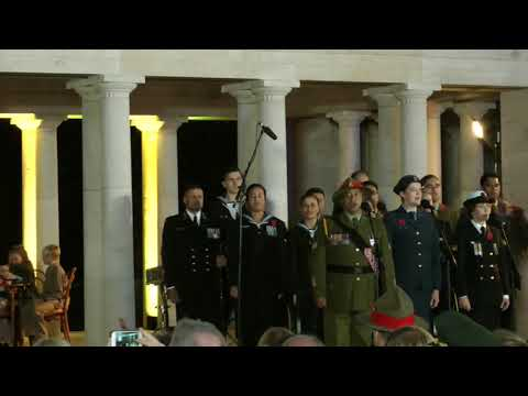 New Zealand sunset ceremony at Buttes New British cemetery 1