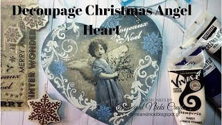 Decoupage Christmas Vintage Angel Heart