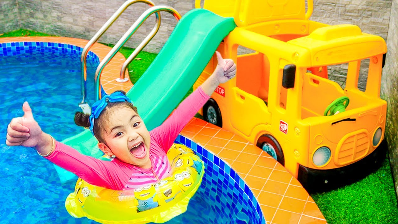 Annie Pretend Play Going to Swim in the Pool | Kids Swimming in Kids Pool