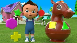 Learning Shapes & Colors for Children with Baby Wooden Horse Toys Set Shapes 3D Kids Educational