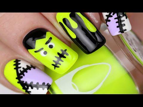 Easy Tutorial Frankenstein Nail Art Design Step By Step Youtube