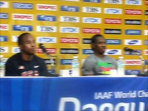 Yohan Blake, Walter Dix and Kim Collins After Men's 100m at 2011 World Champs