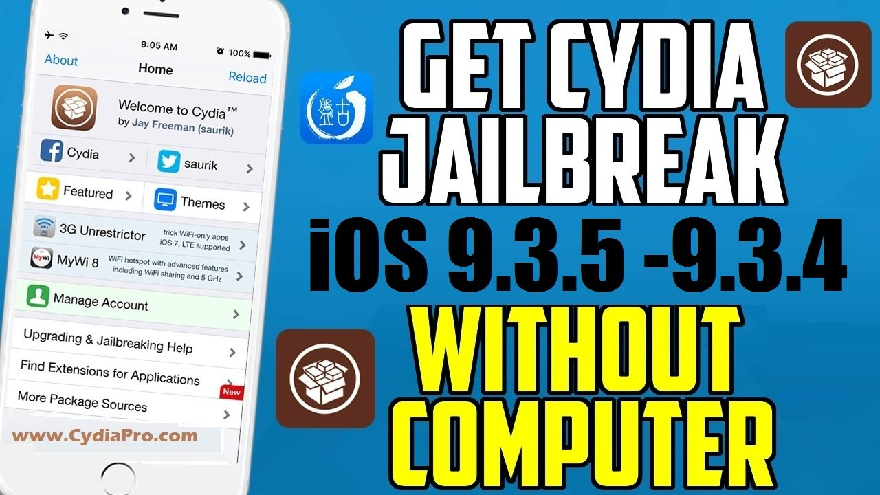 How to Jailbreak iOS 9 3 5 9 3 4 without Computer - YouTube