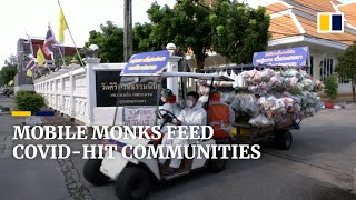 Download Monks use golf cart to deliver food to Thailand's vulnerable Covid-hit communities