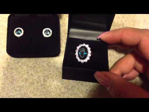 7 ct London blue topaz ring in white gold with matching earrings