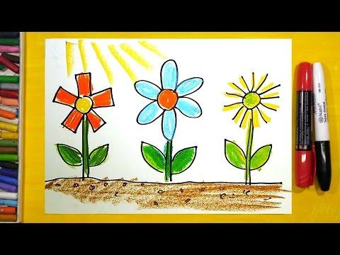 Как нарисовать Цветы, Урок рисования для детей от 3 лет