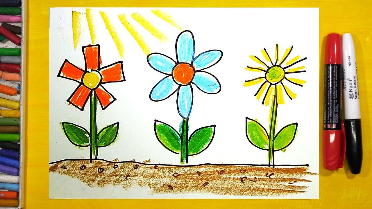 Как нарисовать Цветы, Урок рисования для детей от 3 лет ...