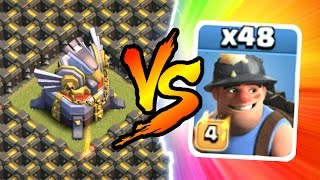 Clash Of Clans - EAGLE ARTILLERY vs 46 MINERS!!! THIS IS INSANE!!