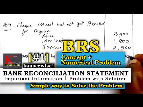 BRS #1 - Introduction to Bank Reconciliation Statement with solved problem :-by  kauserwise