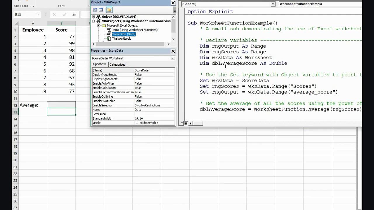 Worksheets Vba Worksheet Function using worksheet functions in vba youtube vba