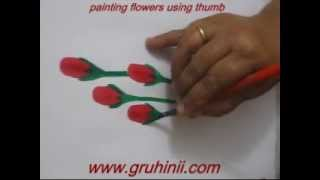Painting flowers using thumb