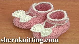 Crochet Bow Shoes Tutorial 37 Part 2 of 2 Zapatito Para Niña